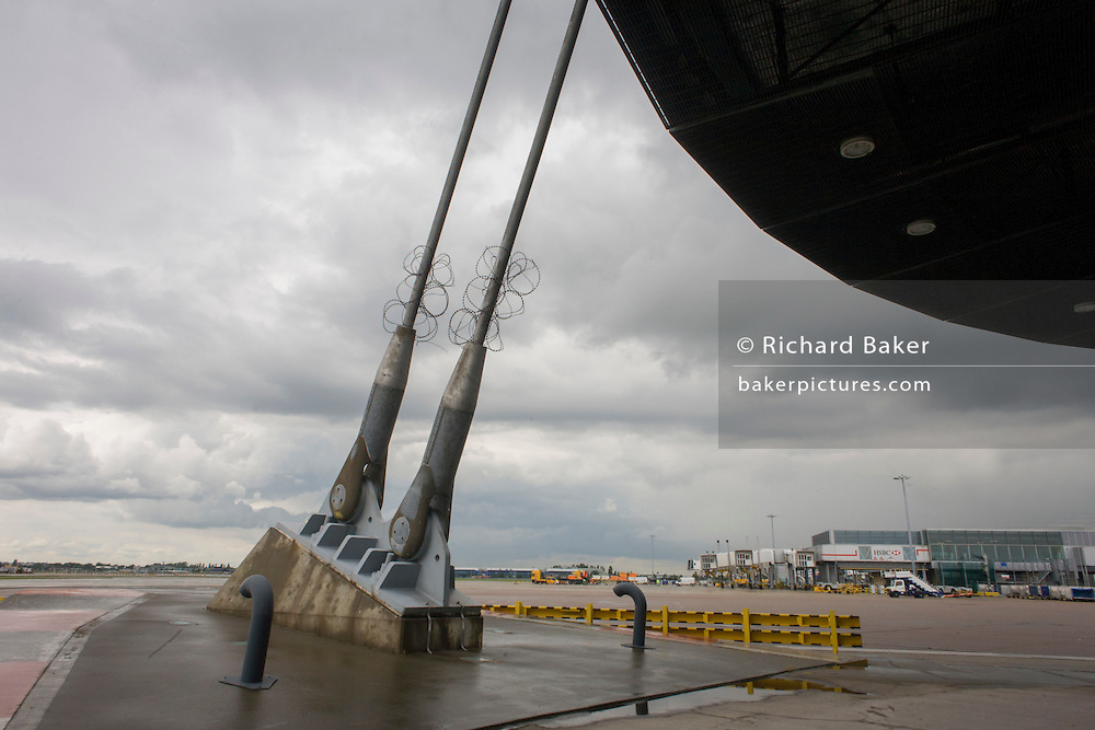Support struts of Heathrow airport's control tower, London.