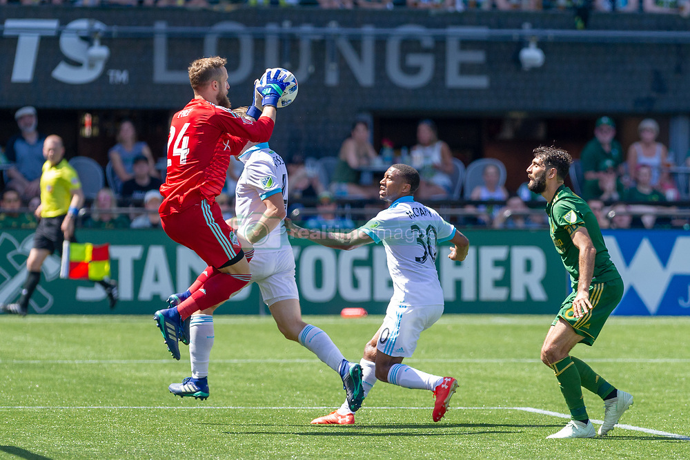 May 13, 2018 - Portland, OR, U.S. - PORTLAND, OR - MAY 13: Seattle Sounders goal keeper Stefan Frei controls a pass headed to Portland Timbers midfielder Diego Valeri during the Portland Timbers 1-0 victory over the Seattle Sounders on May 13, 2018, at Providence Park in Portland, OR. (Photo by Diego Diaz/Icon Sportswire) (Credit Image: © Diego Diaz/Icon SMI via ZUMA Press)