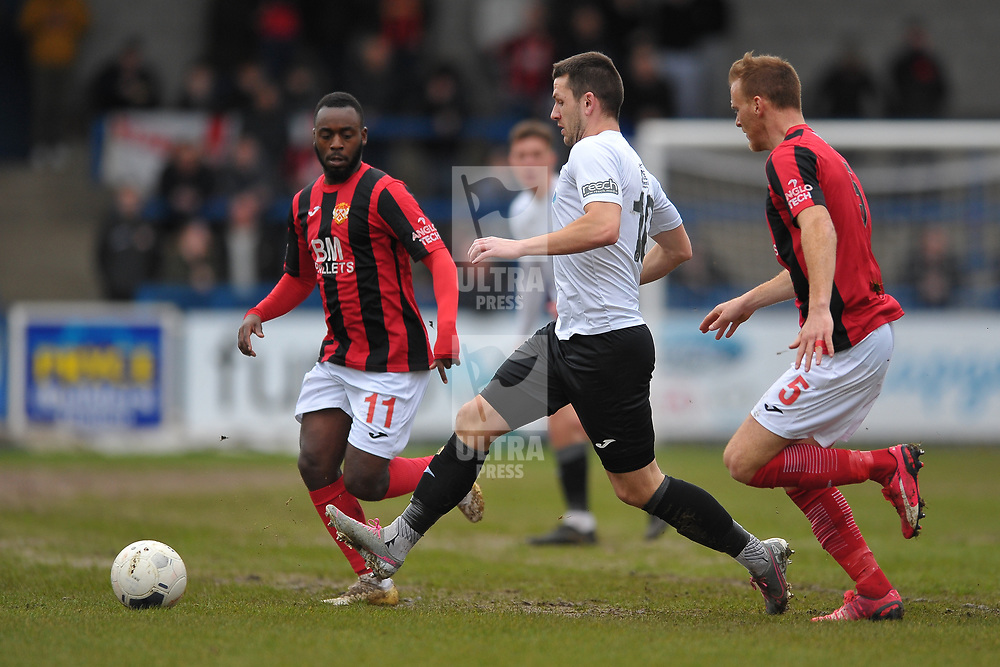 TELFORD COPYRIGHT MIKE SHERIDAN  Aaron Williams of Telford and Omari Stirling-James of Kettering during the Vanarama Conference North fixture between AFC Telford United and Kettering at The New Bucks Head on Saturday, March 14, 2020.<br /> <br /> Picture credit: Mike Sheridan/Ultrapress<br /> <br /> MS201920-050