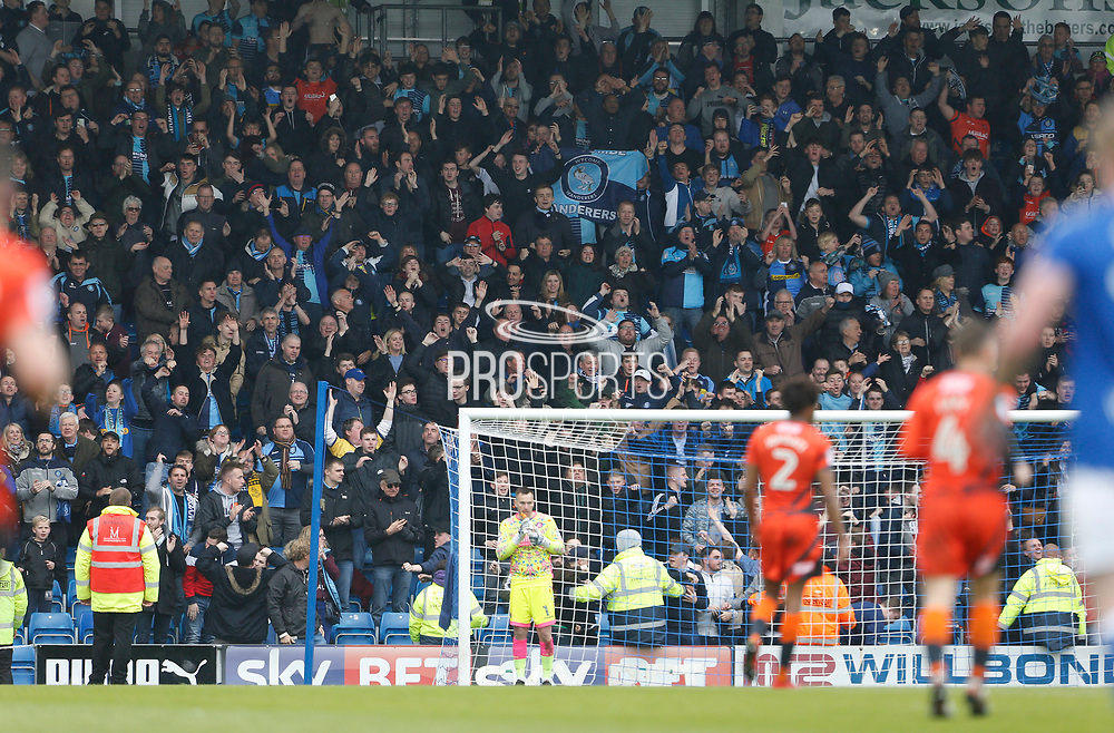 Celebration by Wycombe fans following the goal by Wycombe Wanderers Nathan Tyson(23) during the EFL Sky Bet League 2 match between Chesterfield and Wycombe Wanderers at the b2net stadium, Chesterfield, England on 28 April 2018. Picture by Paul Thompson.