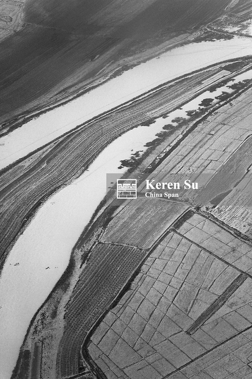Aerial view of frozen land in north China