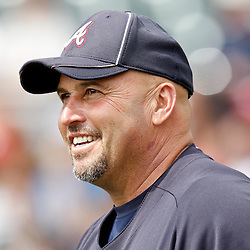 March 5, 2011; Lake Buena Vista, FL, USA; Atlanta Braves manager Fredi Gonzalez (33) before a spring training exhibition game against the New York Mets at Disney Wide World of Sports complex.  Mandatory Credit: Derick E. Hingle