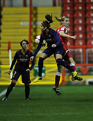 Bristol Academy Womens' Grace McCatty battles for the high ball with FC Barcelona's Alexia Putellas  - Photo mandatory by-line: Joe Meredith/JMP - Mobile: 07966 386802 - 13/11/2014 - SPORT - Football - Bristol - Ashton Gate - Bristol Academy Womens FC v FC Barcelona - Women's Champions League