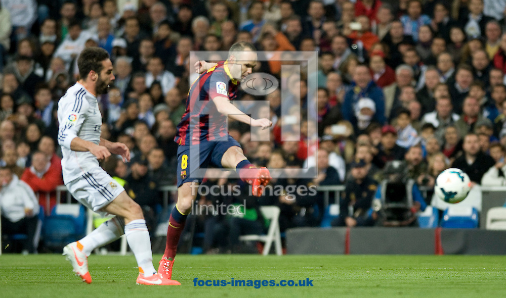 Iniesta of FC Barcelona scoring 1-0 during the La Liga match at the Estadio Santiago Bernabeu, Madrid<br /> Picture by Marcos Calvo Mesa/Focus Images Ltd +34 654142934<br /> 23/03/2014