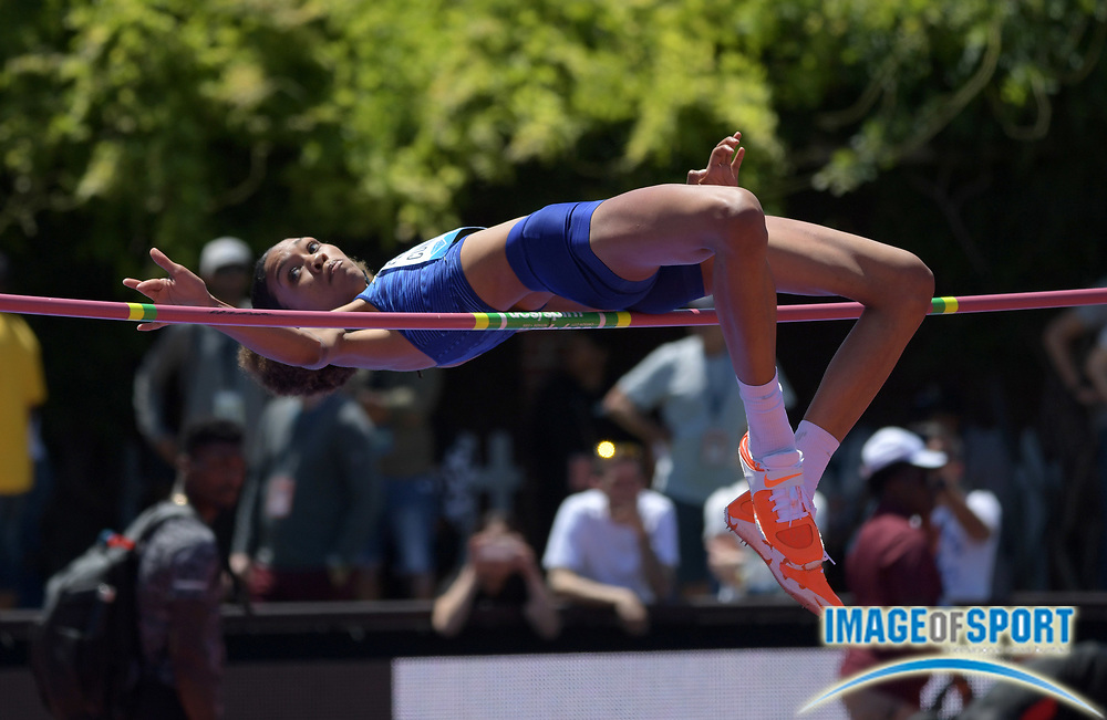 Jun 30, 2019; Stanford, CA, USA; Vashti Cunningham (USA) places second in the women's high jump in a personal best  6-6 3/4 (2.00m) during the 45th Prefontaine Classic at Cobb Track & Angell Field.
