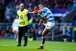 Joaquin Diaz Bonilla of Argentina kicks a conversion - Mandatory by-line: Robbie Stephenson/JMP - 01/12/2018 - RUGBY - Twickenham Stadium - London, England - Barbarians v Argentina - Killick Cup