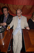 Toby Young and Jack Davenport, 'How to lose Friends and alienate people' by Toby Young performed at the  Soho Theatre, party at Opium. 30 April 2003. © Copyright Photograph by Dafydd Jones 66 Stockwell Park Rd. London SW9 0DA Tel 020 7733 0108 www.dafjones.com