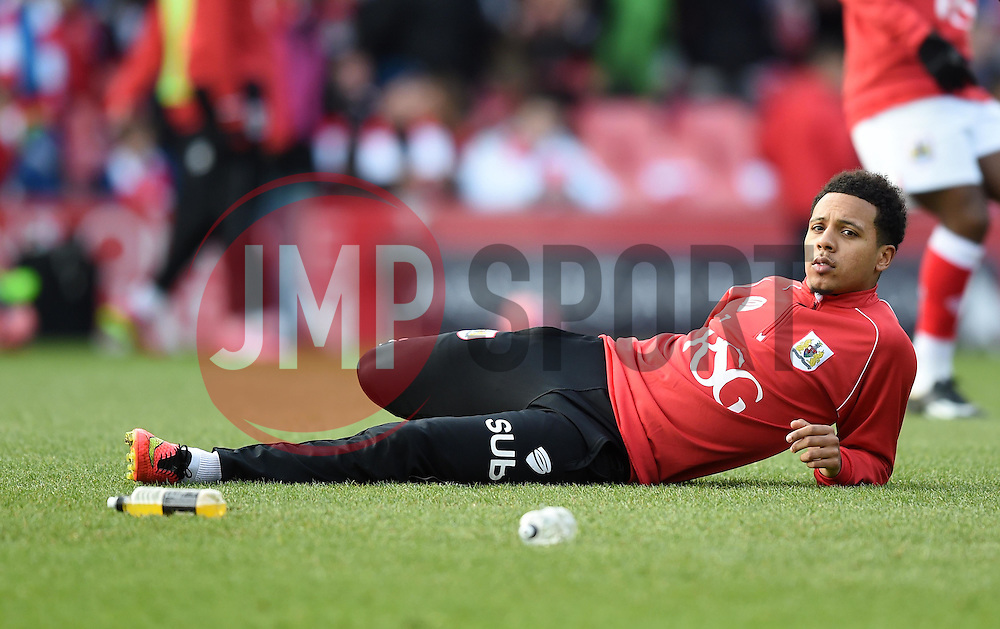 Bristol City's Korey Smith stretches ahead of the FA Cup fourth round match between Bristol City and West Ham United at Ashton Gate on 25 January 2015 in Bristol, England - Photo mandatory by-line: Paul Knight/JMP - Mobile: 07966 386802 - 25/01/2015 - SPORT - Football - Bristol - Ashton Gate - Bristol City v West Ham United - FA Cup fourth round