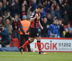Bournemouth's Yann Kermorgant celebrates his penalty to make it 1-0. - Photo mandatory by-line: Alex James/JMP - Mobile: 07966 386802 - 21/03/2015 - SPORT - Football - Bouremouth - Goldsands Stadium - Bournemouth v Middlesbrough - Sky Bet Championship
