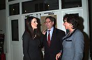 Nigella Lawson, Dominic Lawson and Rosa Monckton. How to be a Domestic Goddess. Nigella Lawson book party. 16 October 2000. © Copyright Photograph by Dafydd Jones 66 Stockwell Park Rd. London SW9 0DA Tel 020 7733 0108 www.dafjones.com