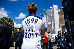 A Spurs fan wears a commemorative shirt outside White Hart Lane before the final game at the stadium before it's closure for demolition and redevelopment - Rogan Thomson/JMP - 14/05/2017 - FOOTBALL - White Hart Lane - London, England - Tottenham Hotspur v Manchester United - Premier League.