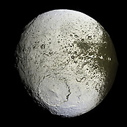 Iapetus, Third-largest moon of Saturn, and eleventh in the solar system; discovered by Giovanni Domenico Cassini in 1671.