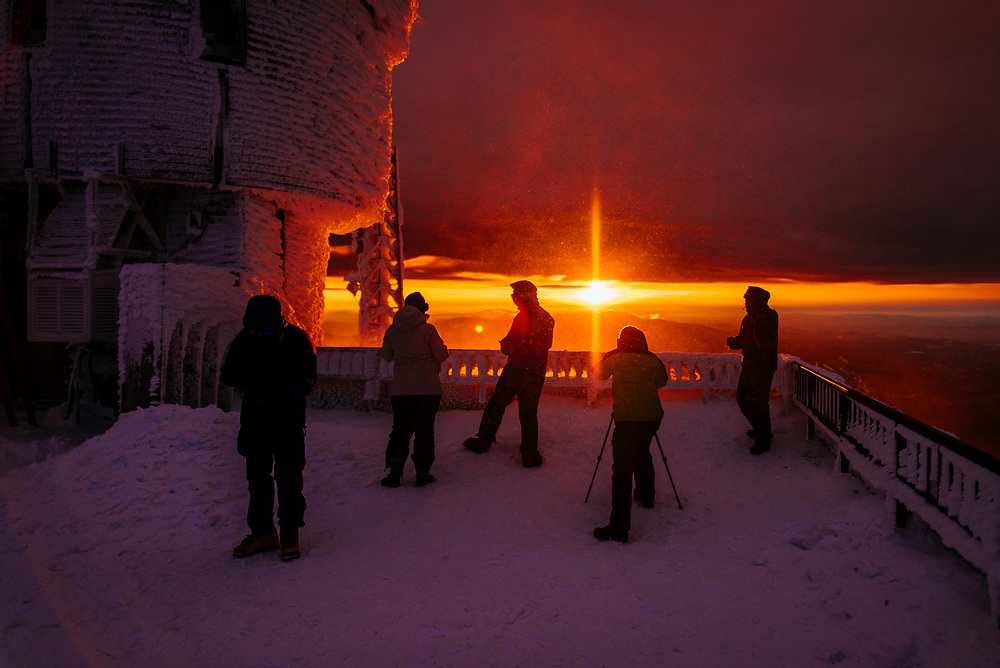 Students from the Mount Washington Observatory taking in the sunset