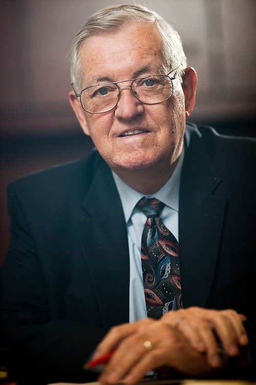Woodstock, Ontario ---10-12-02--- Walter Booth, chairman of the Timberland Group of Companies sits in his office in Woodstock, Ontario December 2, 2010. Walter has donated $6 million to McMaster's Engineering department, where he  did both his undergraduate degree and his masters.<br /> GEOFF ROBINS The Globe and Mail