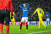Glenn Middleton (#40) of Rangers FC sees his goal ruled offside during the Europa League group stage match between Rangers FC and Villareal CF at Ibrox, Glasgow, Scotland on 29 November 2018.