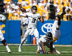 Sep 3, 2016; Morgantown, WV, USA; Missouri Tigers quarterback Drew Lock (3) passes the ball during the first quarter against the West Virginia Mountaineers at Milan Puskar Stadium. Mandatory Credit: Ben Queen-USA TODAY Sports