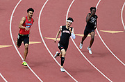 May 19, 2018; Torrance, CA, USA; Brayden Borquez of Harvard-Westlake (center) wins the Division III 400m in 47.76 during the CIF Southern Section Finals  at El Camino College. From left: Donovan Nelson (La Sierra), Borquez and Ismail Turner (West Valley).