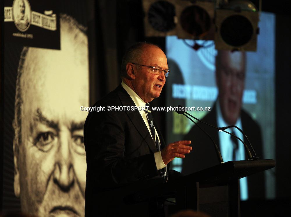 "Graham Henry speaks. A Tribute to Sir Graham Henry Dinner and book launch, ""Final Word"". Twiggers, Addington Raceway, Christchurch, Thursday 23 August 2012. Photo : Joseph Johnson/photosport.co.nz"
