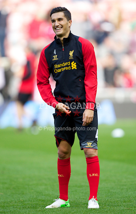 SUNDERLAND, ENGLAND - Saturday, September 15, 2012: Liverpool's Nuri Sahin warms-up before the Premiership match against Sunderland at the Stadium of Light. (Pic by Vegard Grott/Propaganda)