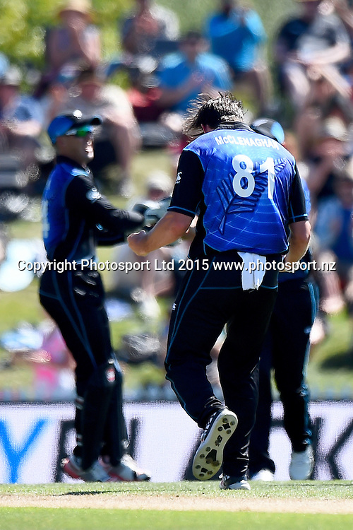 Black Caps player Mitchell McClenaghan celebrates a wicket during the ANZ International 3rd ODI Series match Black Caps v Sri Lanka. Saxton Oval, Nelson, New Zealand. Thursday 31 December 2015. Copyright Photo: Chris Symes / www.photosport.nz