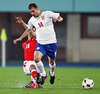 Fotball<br /> Østerrike v Serbia<br /> 15.10.2008<br /> Foto: Gepa/Digitalsport<br /> NORWAY ONLY<br /> <br /> Bild zeigt Milan Jovanovic (SRB) und Paul Scharner (AUT)