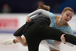 January 17, 2018 - Moscow, Russia - Ioulia Chtchetinina and Mikhail Akulov of Switzerland perform their short program in the pair competition at the 2018 ISU European Figure Skating Championships, at Megasport Arena in Moscow. (Credit Image: © Igor Russak/NurPhoto via ZUMA Press)