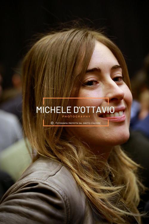 Maria Elena Boschi al Palaolimpico di Torino per la manifestazione di apertura della campagna elettorale del Partito Democratico per le elezioni europee e amministrative. 12 aprile 2014