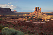 Overlooking a dirt road in Monument Valley, Arizona.