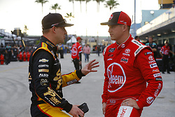 November 16, 2018 - Homestead, Florida, U.S. - Daniel Hemric (21) and Ryan Preece (18) hang out in the garage during practice for the Ford 300 at Homestead-Miami Speedway in Homestead, Florida. (Credit Image: © Chris Owens Asp Inc/ASP)