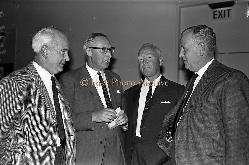14/06/1963<br /> 06/14/1963<br /> 14 June 1963<br /> Rexall Drug Company, Dealers conference at the Intercontinental Hotel, Ballsbridge, Dublin. At the final conference of a series of 15, for chemists, organised by the Rexall Drug Company were: Maurice Richardson,(second from left), Managing Director, Rexall Drug Company chatting to (from left), Dave O'Leary, L.P.S.I.; M.J. O'Shaughnessy, M.P.S.I. and Peter Bardon, M.P.S.I., all Dublin chemists.