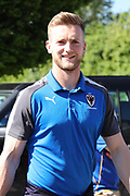 AFC Wimbledon goalkeeper George Long (1) arriving during the EFL Sky Bet League 1 match between AFC Wimbledon and Bury at the Cherry Red Records Stadium, Kingston, England on 5 May 2018. Picture by Matthew Redman.
