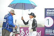Jin Young Ko looks after her caddie during the final round of the Aberdeen Standard Investment Ladies Scottish Open 2018 at Gullane Golf Club, Gullane, Scotland on 29 July 2018. Picture by Kevin Murray.