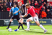 Salford City defender Carl Piergianni challenge the opponent  during the EFL Sky Bet League 2 match between Salford City and Grimsby Town FC at Moor Lane, Salford, United Kingdom on 17 September 2019.