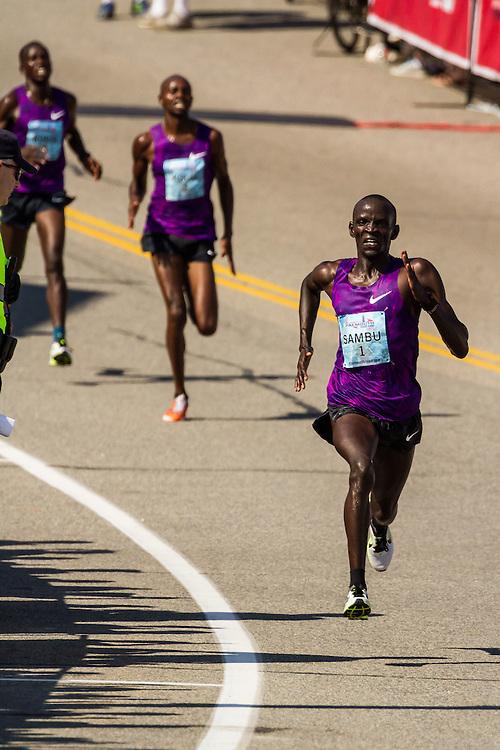 Stephen Sambu, Kenya, Nike, sprints to win over countrymen