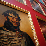 Portraits of military officers in the 1812 War Gallery.  The Hermitage Museum also known as the Winter Palace,  was the main residence of the Russian Tsars located on the banks of the Neva River, in St. Petersburg.   Photography by Jose More