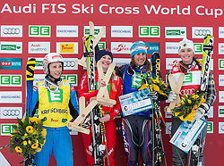25.01.2014, Kreischberg, St. Georgen, AUT, Ski Cross Weltcup, Podium, im Bild v.l.n.r. Katrin Ofner (AUT, 4. Platz), Fanny Smith (SUI, 2. Platz), Ophelie David (FRA, 1. Platz), Marielle Thompson (CAN, 3. Platz) // f.l.t.r. 4th place Katrin Ofner of Austria, 2nd place Fanny Smith of Switzerland, Ophelie David of France, 3rd place 1st place Marielle Thompson of Canada during the Winner award Ceremony of FIS Ski Cross World Cup at the Kreischberg in St. Georgen, Austria on 2014/01/25. EXPA Pictures © 2014, PhotoCredit: EXPA/ Johann Groder