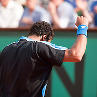 1 June 2009: Jo Tsonga of France celebrates during the Men's Single Fourth Round match on day nine of the French Open at Roland Garros in Paris, France.