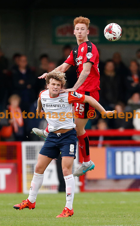 Crawley&rsquo;s Josh Yorwerth  challenges Cameron McGeehan of Luton during the Sky Bet League 2 match between Crawley Town and Luton Town at the Checkatrade.com Stadium in Crawley. October 17, 2015.<br /> James Boardman / Telephoto Images<br /> +44 7967 642437