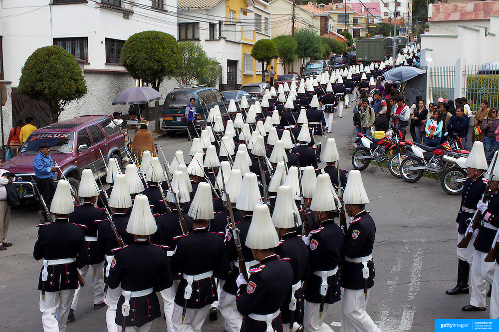 """Bolivian  military personal participate in a military parade to honor national hero Eduardo Avaroa as part of """"Day of the Sea"""" celebrations. Bolivia lost its coastline 131 years ago to Chile in the """"Guerra del Pacifico"""", or War of the Pacific.  Sopocachi, La Paz, Bolivia,  March 23, 2010."""