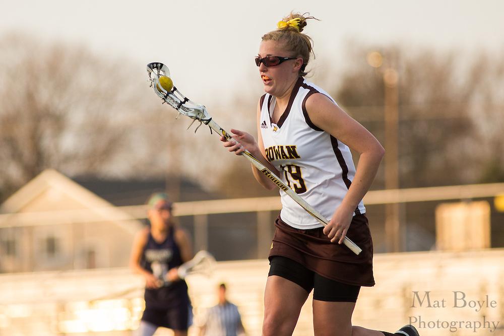 Rowan University Senior Caitlin Ravel (19) - Drew University Women's Lacrosse at Rowan University at Richard Wacker Stadium  in Glassboro, NJ on Tuesday April 9, 2013. (photo / Mat Boyle)