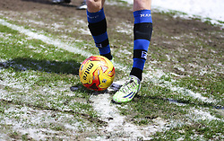 The yellow winter ball placed in a snowy corner quadrant  - Photo mandatory by-line: Matt McNulty/JMP - Mobile: 07966 386802 - 17.01.2015 - SPORT - Football - Rochdale - Spotland Stadium - Rochdale v Crawley Town - Sky Bet League One