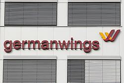 24.03.2015, Flughafen Köln Bonn, Köln, GER, Germanwings, Flugzeugabsturz 4U9525, im Bild Germanwings Zentrale am Flughafen Koeln Bonn // An Airbus A320 of Germanwings has crashed in Southern French Alps on its flight from Barcelona to Duesseldorf International Airport, Germany, Pressconference at the Flughafen Köln Bonn in Köln, Germany on 2015/03/24. EXPA Pictures © 2015, PhotoCredit: EXPA/ Eibner-Pressefoto/ Schüler<br /> <br /> *****ATTENTION - OUT of GER*****