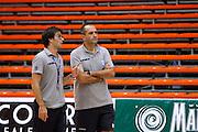 Coach Gennaro Di Carlo e Jorge Silva Suarez<br /> Betaland Capo D'Orlando allenamento precampionato<br /> Lega Basket Serie A 2016/2017 <br /> Capo D'Orlando 02/09/2016<br /> Foto Ciamillo-Castoria