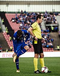 September 2, 2017 - Tampere, Finland - Iceland's Gylfi Sigurdsson and referee Pavel Kralovec during the FIFA World Cup 2018 Group I football qualification match between Finland and Iceland in Tampere, Finland, on September 2, 2017. (Credit Image: © Antti Yrjonen/NurPhoto via ZUMA Press)