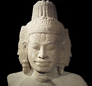 Male god of the four faces (Brahma). Bayon style 12th to 13th century. Sandstone sculpture from Preah Kahn (temple) in Cambodia.