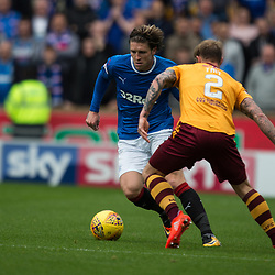 Josh Windass of Rangers takes on Richard Tait of Motherwell, Motherwell v Rangers, Scottish Premiership, 6 August 2017 . (c) Adam Oliver | sportPix.org.uk