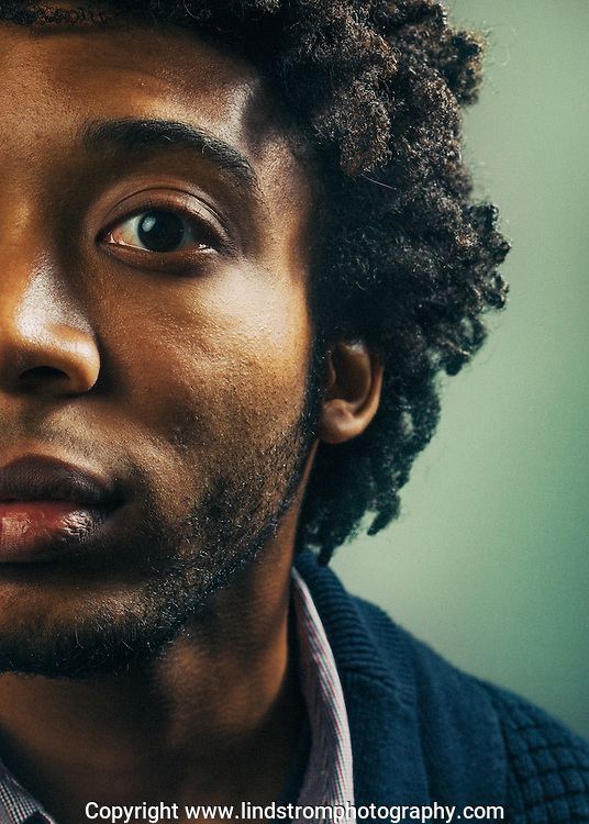 Portrait of Houston indie rock musician Hendrick Rosemond.<br /> Photographed by editorial and commercial Houston photographer Nathan Lindstrom