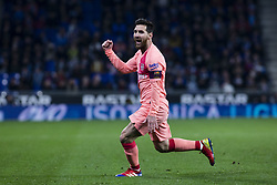 December 8, 2018 - Barcelona, Catalonia, Spain - 10 Leo Messi of FC Barcelona celebrating his goal during the Spanish championship La Liga football match between RCD Espanyol v FC Barcelona on December 08, 2018 at RCD Stadium stadium in Barcelona, Spain. (Credit Image: © Xavier Bonilla/NurPhoto via ZUMA Press)