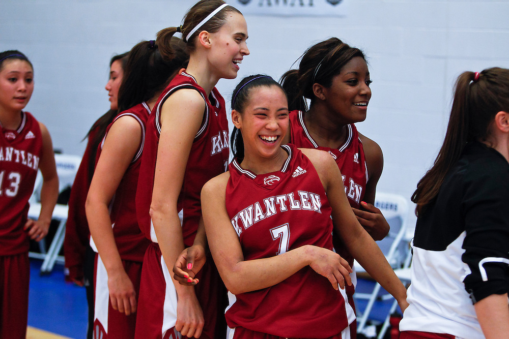Kwantlen University Eagles beat the Quest University Kermodes 64-48 in the first game of the 2013 Pac West Basketball Championships at the Pacific Institute of Sport in Victoria B.C.