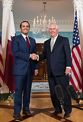 June 27, 2017 - Washington, District of Columbia, U.S. - U.S. Secretary of State REX TILLERSON greets Qatari Foreign Minister SHEIKH MOHAMMED BIN ABDULRAHMAN AL THANI in the Treaty Room Suite at the U.S. Department of State. (Credit Image: © Ting Shen/Xinhua/Xinhua via ZUMA Wire)